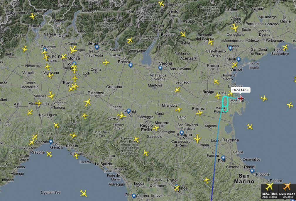 Tracciamento radar delle rotte aeree