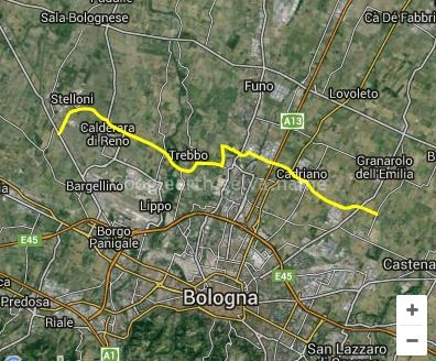 Intermedia di Pianura, a nord di Bologna da Est a Ovest
